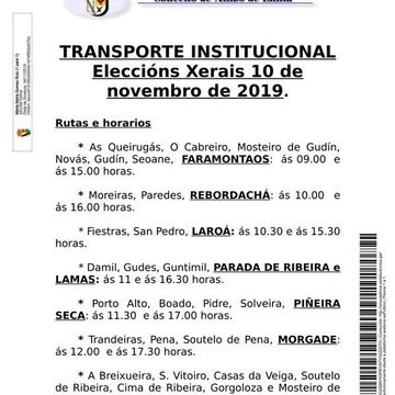 Horario do transporte institucional para  as eleccións do domingo 10 N