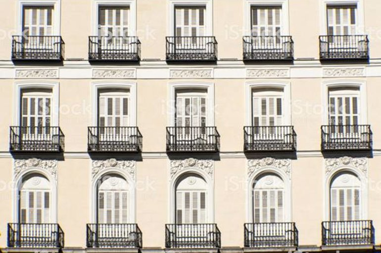Background of a facade with balconies in Madrid